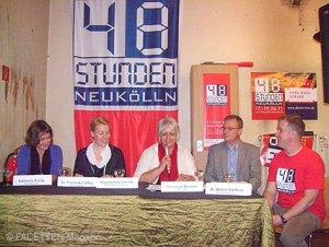 pressekonferenz 48 stunden neukölln, v. l.: katharina rohde, franziska giffey, auguste kuschnerow, christoph böhmer (biotronik), martin steffens