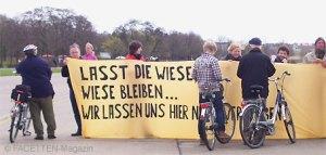 berlin, eröffnung info-pavillon tempelhofer freiheit, protest, bürgerinitiative 100 % tempelhof