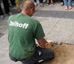 "spatenstich, baumaßnahme ""umgestaltung platz der stadt hof"", berlin-neukölln, bauausführung: fa. dalhoff"