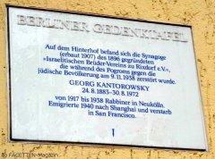 ehemalige synagoge isarstraße 8 neukölln, berliner gedenktafel georg kantorowsky