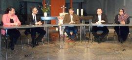 v. l.: Nilgün Hascelik (TDZ Türkisch-Deutsches Zentrum), Pfarrer Dr. Eckhard Zemmrich, Kemal Hür, Falko Liecke (CDU Neukölln), Pinar Cetin (DITIB)