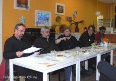 v. l.: Willi Laumann (Bündnis Bezahlbare Mieten Neukölln/Berliner Mieterverein), Peter Kreibel (IG BAU), Mirjam Blumenthal (Moderation), Jochen Biedermann (Ausschuss für Stadtentwicklung der BVV Neukölln), Hermann Werle (Berliner Mietergemeinschaft)